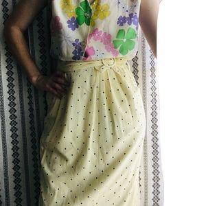 Vintage Skirts - 80's does 60's yellow polka dot midi skirt
